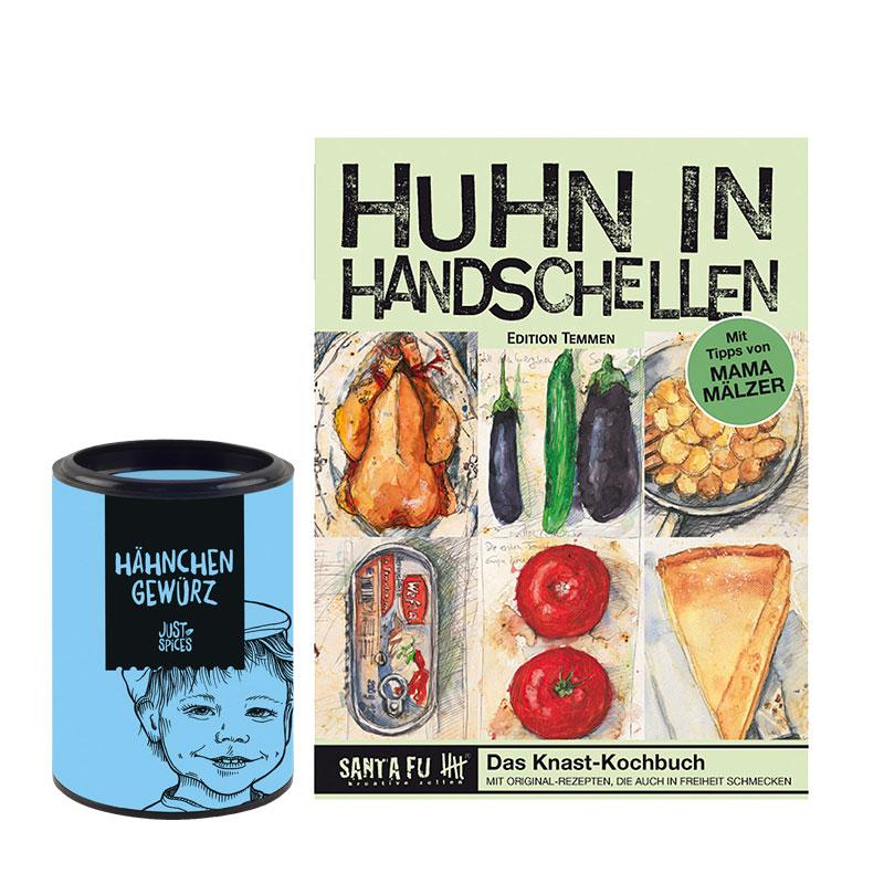 """Geschenk-Set Kochbuch """"Huhn in Handschellen"""" & """"Hähnchen Gewürz"""""""