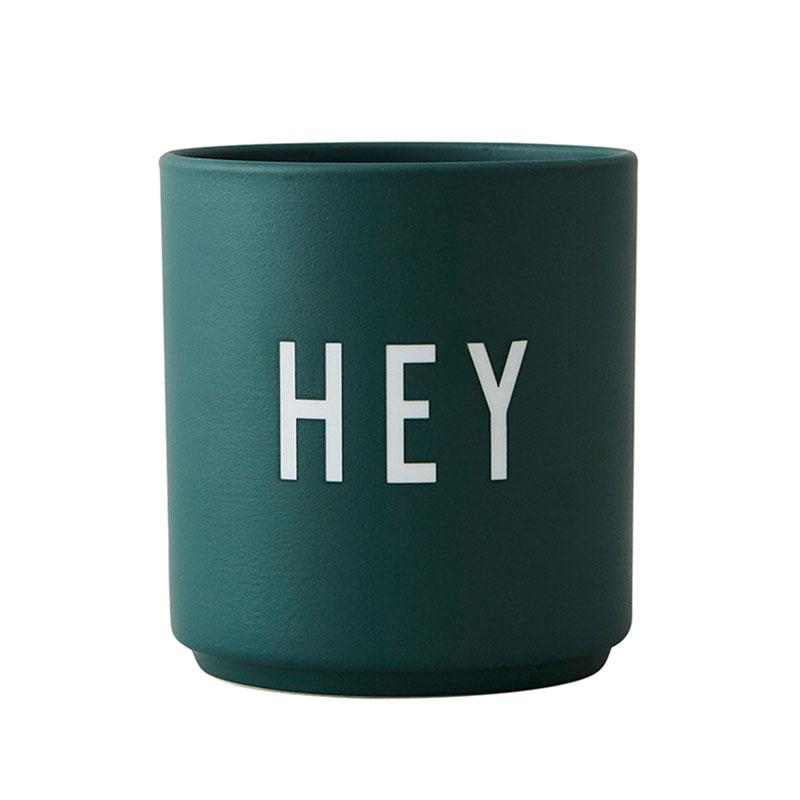 Design Letters Porzellan Becher HEY grün