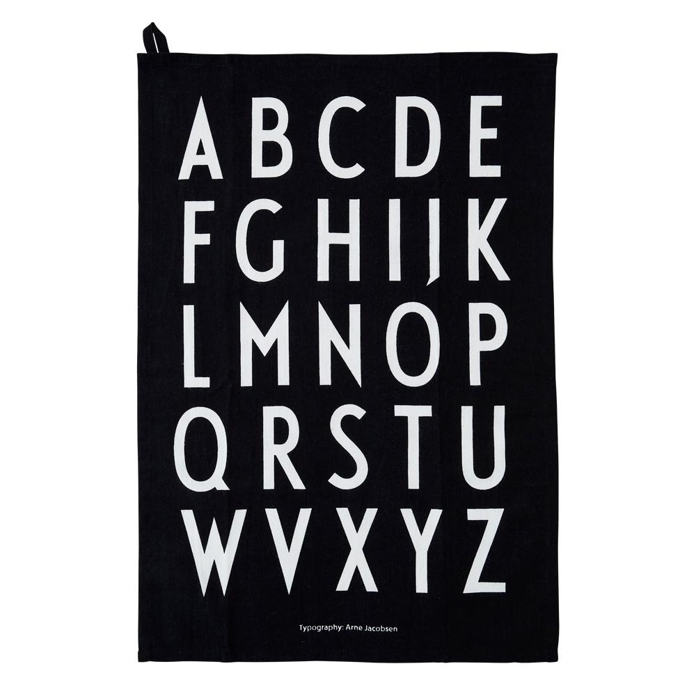 Design Letters Geschirrtuch A-Z schwarz